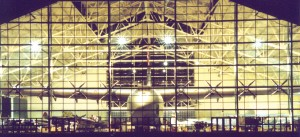 "Beautifully illuminated at night, the Evergreen Aviation Museum is home to the ""Spruce Goose"" and more than 60 other historic aircraft."
