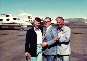John Lear, Bill Lear Sr. and Bill Lear Jr. appear happy after landing in Reno in 1977.