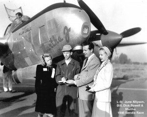 "L to R: Actress June Allyson, Bill Lear Jr., actor Dick Powell and Martha Joy (McKee) Crawford, Lear Jr.'s fiancée, in front of his first P-38, ""The Martha J"" (Bendix Race, 1946)."
