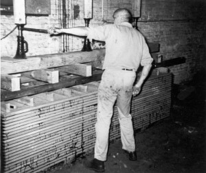 Howard Head, the founder of the Head Ski Company, at work at his factory.