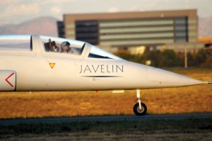 "ATG chief test pilot Robert ""Fusch"" Fuschino readies himself and the Javelin prototype for its first flight."
