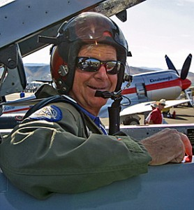Art Vance in the cockpit of the pace jet prior to the 2005 Unlimited Gold race.