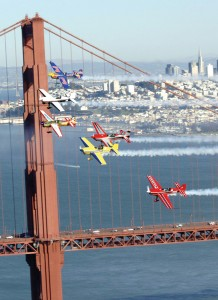 Air racers prepare for the 2005 Red Bull Air Race World Series with a high-speed run over the Golden Gate Bridge in San Francisco.