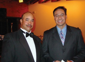 L to R: Willie Daniels and Channel 4 meteorologist Dave Aguilera, who served as master of ceremonies.