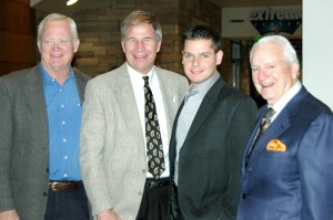 "Brian Terwilliger, producer and director of ""One Six Right"" (second from right) poses with, from left, Aviation & Space Center of the Rockies Chairman Pat Wiesner, President and CEO Greg Anderson and former Chairman Carl Williams."