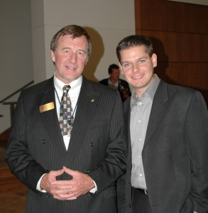 L to R: Brian Terwilliger chats with Wildlife President Dr. Richard Franklin.