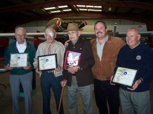 Brian Richardson (second from right) presented FAA awards to, L to R, Morris Quick (Wright Brothers Master Pilot Award), Earle Wilson (Charles Taylor Award), Cole Kugel (Golden Eagle Award) and Russell Masters (Charles Taylor Award).