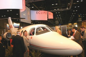 Vern Raburn says the Eclipse 500, pictured on display at the NBAA 58th Annual Meeting & Convention, promises to be the easiest to fly twin-engine aircraft yet built.