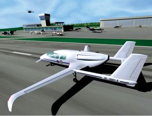A future air taxi as envisioned by NASA takes off from a Small Aviation Transportation System enabled airport.