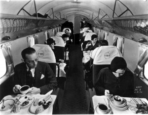 Passengers dine on a TWA DC-2.