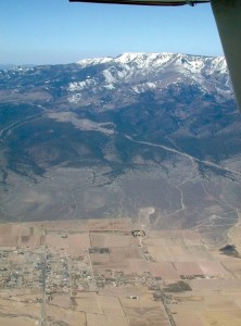 The Pahvant Mountain Range towers over the Sevier Valley near Richfield, Utah. Out of sight on the other side of the plane is the equally imposing Wasatch Range.