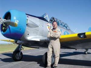 "John Zayac and ""Thumper,"" his SNJ-5B, took second place in the T-6 Bronze class at the Reno Air Races in 2004."