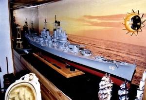 Extraordinary model of a WWII USS battleship. Even the anchor and gun turrets move.