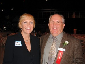 Jerry Mehlhaff was joined by his wife Terry in celebrating his induction into the Wisconsin Aviation Hall of Fame.