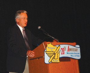 "Phil Waitkus, grandson of Anton Brotz, was honored by his grandfather's induction into the Wisconsin Aviation Hall of Fame. Brotz is known as the ""founding father of aviation"" in Sheboygan County, Wisconsin."
