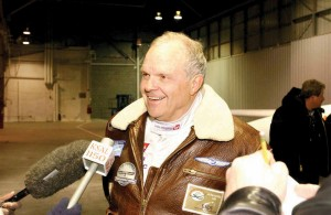 GlobalFlyer pilot Steve Fossett gives an interview to the press after his record-setting flight.