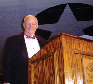 Ralph Royce, president of Lone Star Flight Museum, acts as emcee at the Texas Aviation Hall of Fame Induction Ceremony & Gala.