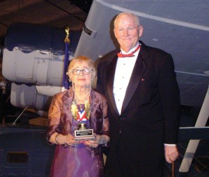 Ralph Royce congratulates aviation pioneer Emma Carter Browning on her special evening.