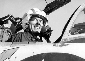 Among many other flying experiences, Navy pilot George Watkins set records for speed and altitude and was the first pilot to total over 1,000 arrested carrier landings