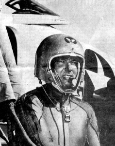 George Watkins flight-tested 75 different aircraft models during three tours at Patuxent River, Md., and set an altitude record of almost 77,000 feet in a Grumman F11F-1F in 1958.