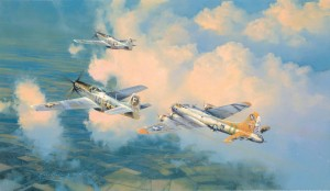 """Little Friends,"" from Robert Taylor's USAAF collector edition, shows 20th Fighter Group Mustangs escorting the flak-damaged B-17 ""Bit-O-Lace"" home after a raid on Kiel, Germany."