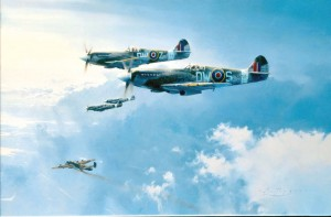 "The Spitfire became a symbol of the heart of a nation. ""Top Cover,"" from the RAF & Commonwealth edition, shows Mark XIV Spitfires escorting a damaged Halifax from 462 Squadron home in 1944."