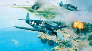 "In the Pacific, the U.S. Navy was turning the tide of war against Japan with the introduction of the Grumman F6F Hellcat. ""Hellcat Fury"" shows fighters from VF-6 making a low-level attack against the Japanese airfields and their fleet anchored in Truk Har"