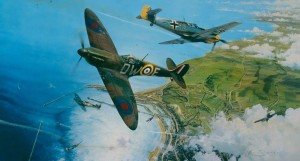 "The Battle for Britain"" depicts a Spitfire from 610 Squadron making a head-on attack against an Me 109 over the port of Dover during the summer of 1940."