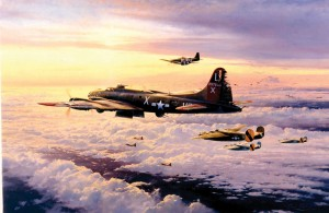 "In 1992, the Military Gallery published two Taylor prints that showed the 8th Air Force, ""The Mighty Eighth-–Outward Bound"" and ""The Mighty Eighth--Coming Home."" The latter print, shown here, shows a battle-damaged B-17 returning home after a raid."