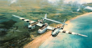 "On D-Day, General Doolittle, 8th Air Force, flew a P-38 over the beaches of Normandy to witness firsthand the progress of the invasion developing below, and then reported back to General Eisenhower. ""Doolittle's D-Day"" depicts this unprecedented flight by"