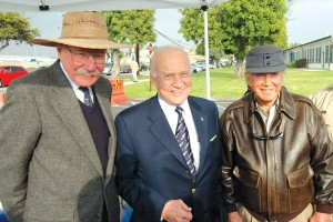 L to R: Bob Hoover, Buzz Aldrin and Cliff Robertson represented the National Aviation Hall of Fame at the groundbreaking for the Spirit of Santa Monica DC-3 Monument Park.