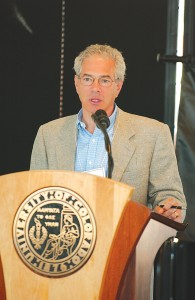 In addition to leading significant financial gifts to the University of Colorado, Michael Leeds often stops by the school to speak with students.