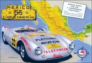 """19 Hours,"" by Dave Kurz, celebrates the historic Mexican road race, the Carrera Panamericana. The car featured is only the fourth Porsche Spyder chassis made by the manufacturer."