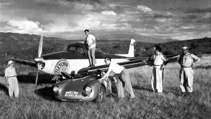 "Karl Kling's Porsche 550 poses with the ""jet-cooled"" Navion in 1953 at Tuxtla Gutierrez Airport. Don Downie flew the Navion for Fletcher Aviation."