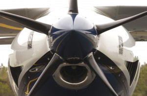An impressive view of the five-blade prop and cowling of Extra's pressurized turboprop multi-passenger plane. The EA-500 carries five passengers and the pilot.