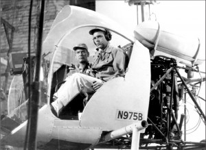 To prevent glare during front filming, the bubble was cut out of the mock helicopter.