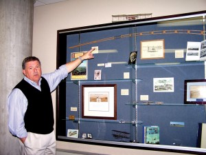 Robert Olislagers points out some of the significant items now on permanent exhibit in the Wright Room at Centennial Airport.