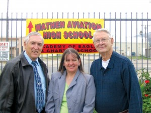 L to R: Wes Blasjo, Wathen Foundation High School principal and teacher; Dara DeVicariis, teacher and education specialist; and Dr. Arthur Peterson, president of the Wathen Foundation's Air Academy.