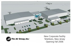 This artist's rendering shows The Air Group's new eastern headquarters, scheduled to open at Teterboro Airport this fall.