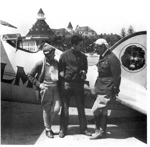 Roscoe Turner (right) visits with Ben Lyon and his wife, Bebe Daniels, after being engaged to pick them up at San Diego's famed Coronado Hotel.