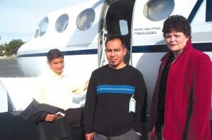 Gabriel (left) is about to board the Cessna 340 with his friend, Arnie, who has never flown in an airplane. Social worker Kenda Kellawan arranged for Gabriel's Angel Flight West flight from Santa Maria to Van Nuys.