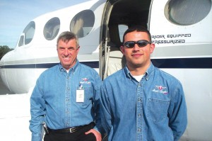"Steve Danz (left) has been Angel Flight West's ""Distinguished Pilot of the Year"" for the last three years. Hugo Enriquez, copilot on this flight, is qualified to be pilot in command in the Cessna 340."
