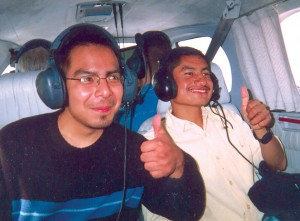 Arnie (left) and Gabriel, in rear-facing seats, wing their way to Van Nuys.