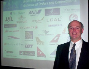 Jeffrey Hawk described the many features, advantages and benefits of Boeing's 787 Dreamliner, with over 25 screens of details, including logos of many of the airlines that have already ordered the Dreamliner.ny of the airlines that have already ordered th