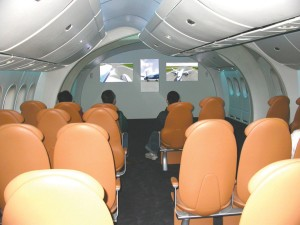 Films about the future 787 and the mockup of its interior attract visitors touring the Future of Flight Aviation Center.
