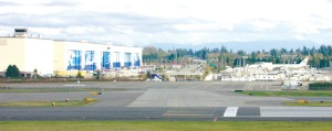 The StratoDeck atop the Future of Flight Aviation Center offers a panoramic view of the Boeing plant and paint hangars at the north end of the Paine Field runway.