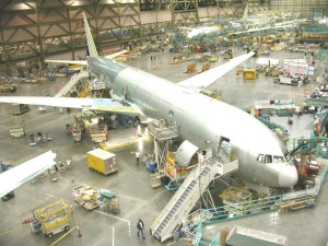 Boeing tours feature close-up views of the assembly of airliners like this new 777.