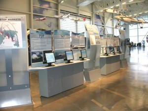 The Future of Flight Aviation Center's Gallery of Planes features a four-story 747 tail, a 777 jet engine and kiosks with information about airliner history and early composite aircraft, like the Glasair, hung in formation overhead.