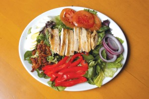 Chef Colborn aims to get lunches out in 10 minutes. One lunch choice is a fresh southwestern Cobb salad.