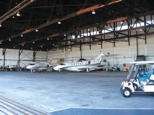 The interior of one of Landmark's two hangars at Westchester County Airport.